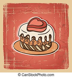 Vector illustration of cake in retro style. Vintage card