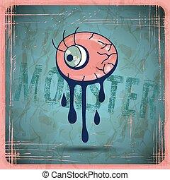 EPS10 vector vintage grunge old card. Monster