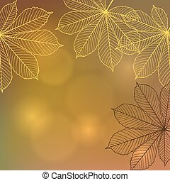 Background with falling autumn leaves Vector illustration -...