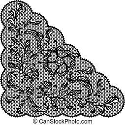 Vintage lace element, ornamental flowers. Vector texture