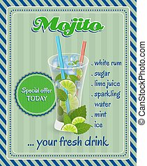 Mojito cocktail - Mojito coktail poster with glass, ice,...