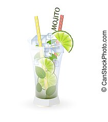 Mojito cocktail - Glass of mojito and drinking strew on a...
