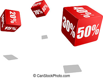 discount - flying dices with various percent