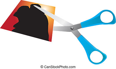 jealousy - scissors cutting romantic couple photo