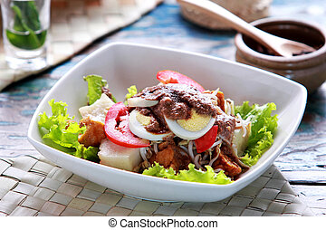 gado gado - portrait of indonesian food gado gado ready to...