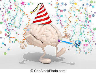 brain with arms, legs, party cap and blowers - human brain...
