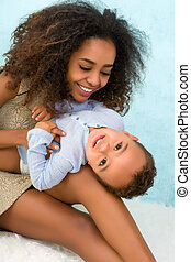African mother and son playing - Happy African Ethiopian...