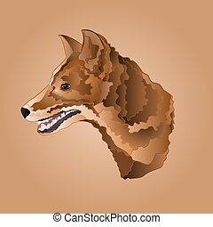 Brown dog head domestic animal vector illustration