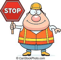 Cartoon Road Worker Stop Sign