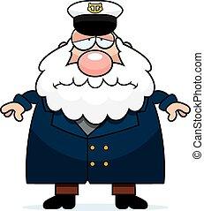 Sad Cartoon Sea Captain - A cartoon illustration of a sea...