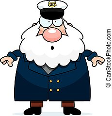 Surprised Cartoon Sea Captain - A cartoon illustration of a...