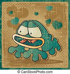 EPS 8 vintage background with vector frog.
