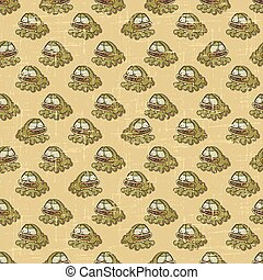 Vintage vector seamless pattern with cartoon frogs