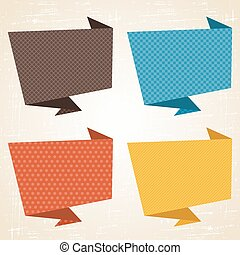 Vector origami background Banner and speech bubbles