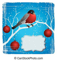 Bird on a tree in winter. Christmas and New Year's card