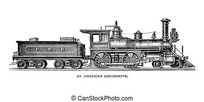 American Locomotive - An engraved illustration image of a...