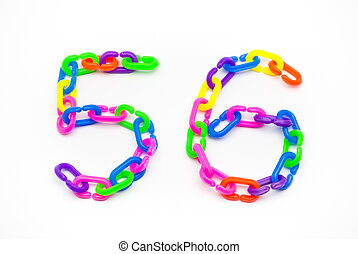 5 and 6 Number, Created by Colorful Plastic Chain