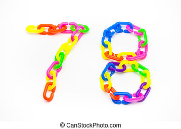 7 and 8 Number, Created by Colorful Plastic Chain