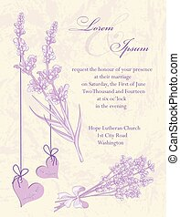 Wedding invitation card Lavender background - Wedding...