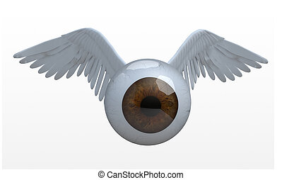 eye with wings that fly, 3d illustration
