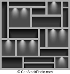 Empty shelves illuminated with reflector ligh, gray colored,...