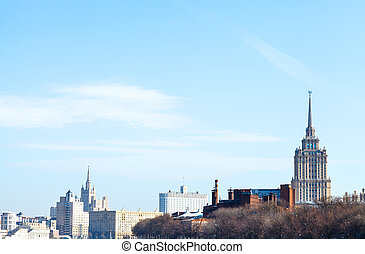 spring sky over Russian White House and skyscraper - blue...