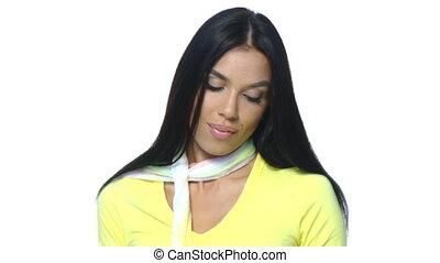 Beautiful and sexy woman waering yellow sweater