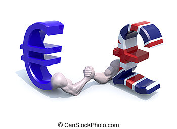 euro and sterling symbol currency make arm wrestling, 3d...