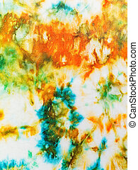 abstract ornament of batik painted on white silk close up