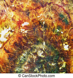 fragment of painting on silk batik close up