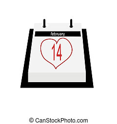 Calendar Date - Valentines Day - Illustration of a flip...