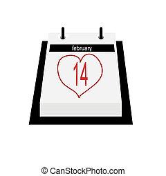 Calendário, data, -, valentines, Dia