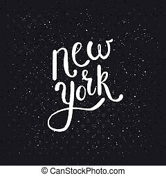 White New York Texts on Dotted Black Background