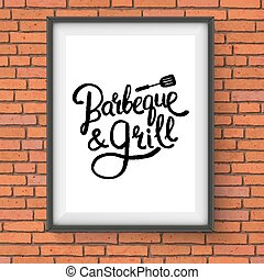 Barbecue and Grill Restaurant Sign on Brick Wall - Vector...