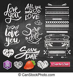 Love Phrases, Borders and Symbols on Chalkboard - Set of...