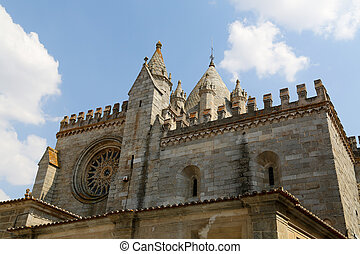 Evora Cathedral - Facade of the Cathedral of Evora, Portugal