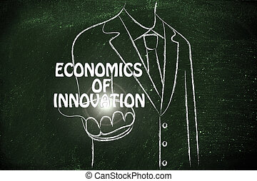business man handing out the word Economics of Innovation -...