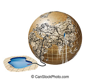 wasting water - illustration of problems with water on Earth