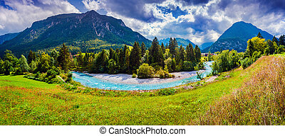 Panorama of the Triglav mountain range, view from the Gozd...