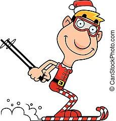 Cartoon Christmas Elf Skiing