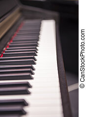 Music store - Black piano close-up blur background and...