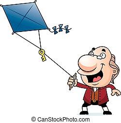 Cartoon Ben Franklin Kite - An illustration of a cartoon Ben...