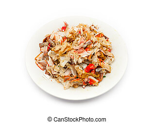 Remain Pieces of Broken Crab Shell on Plate - Remain Pieces...
