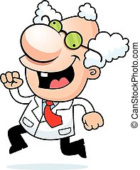 Cartoon Mad Scientist Running - An illustration of a cartoon...