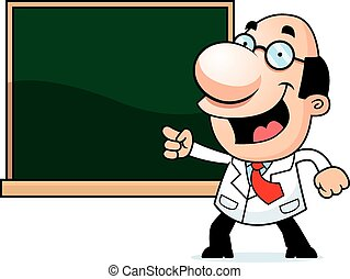 Cartoon Scientist Chalkboard - An illustration of a cartoon...