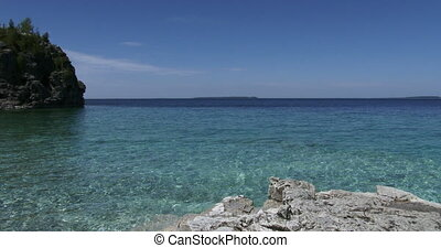Panoramic view of Georgian bay, Canada, with clear blue...