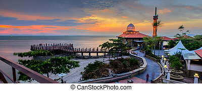 Malaysian Mosque on sunset - Malaysian mosque located in...