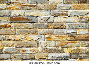 yellow brick wall, close up