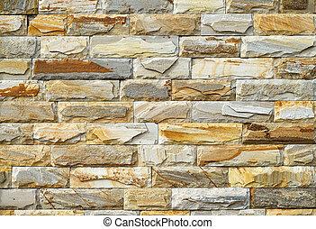yellow brick wall, close up