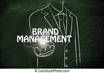 business man handing out the word Brand Management -...